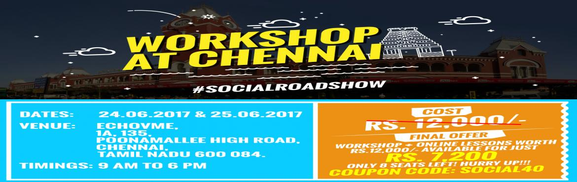 Book Online Tickets for Social Media Marketing Boot Camp- Chenna, Chennai.  Register now to learn how you can build and promote your brand using social media!!!Venue: echoVME, Sapna Trade centre 135, 1A, Konnur High Road, Poonamallee, Chennai, Tamil Nadu 600084  Investment:  Rs 6,000 for 2 Days Digital Market