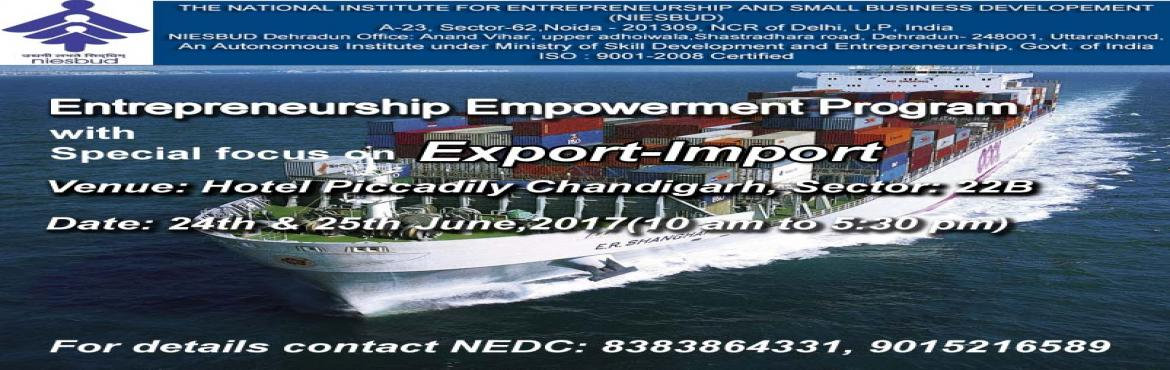 Book Online Tickets for Export Import Program by NEDC in Chandig, Chandigarh.   The Workshop has been designed to develop a comprehensive and integrated approach to Export- Import transactions in an organization. Focus is on understanding the entire process of international trade, importance and relevance of each document