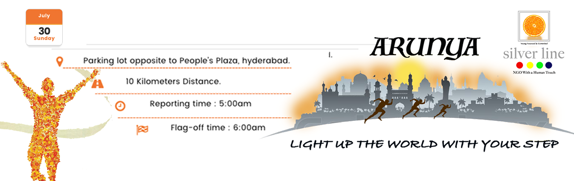 Book Online Tickets for ARUNYA - Run for the Needy, Hyderabad. Date: 30th July 2017 Distance: 2km,5km and 10km Reporting Time: 5:00am Flag-off Time: 6:00 am Venue: Parking lot opposite to People\'s Plaza * Participants are requested to collect their T-shirts and Bibs the previous day i.e. 29th July 2017 from the