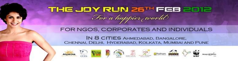 "Book Online Tickets for The Joy Run - 2012 @ Ahmedabad, Ahmedabad.  THE JOY RUN - 2012 The JoyRun in below listed 8 cities:Ahmedabad, Bangalore, Chennai, Delhi, Hyderabad, Kolkatta, Mumbai and Pune. Introduction – ""The Joy Run, 2012″  ""The Joy Run"" is a special concept where"