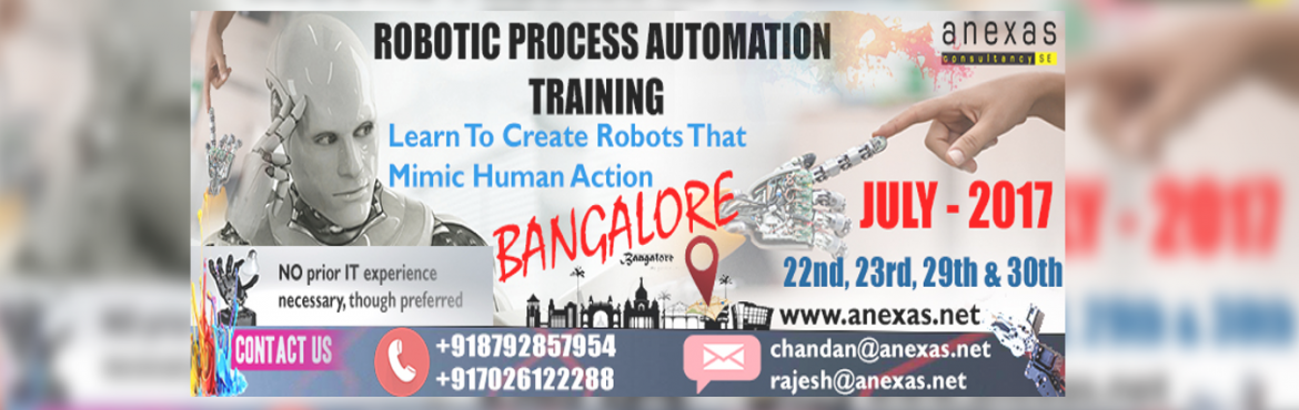 "Book Online Tickets for Robotic Process Automation Training and , Bengaluru. Robotic process automation (RPA) is the application of technology that allows employees in a company to configure computer software or a ""robot"" to capture and interpret existing applications for processing a transaction, manipulating dat"