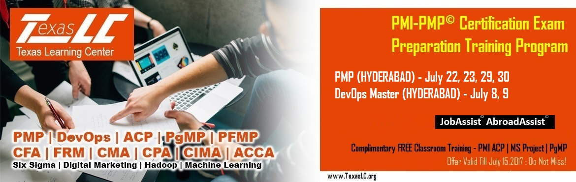 Book Online Tickets for PMI-PMP Certification EXAM Preparation T, Hyderabad. About The Event     About The Event   Why PMI-PMP© Certification?  Better Pay: Increases your pay scale. Numerous studies have demonstrated and provide irrefutable evidence that PMP certified professionals earn abou
