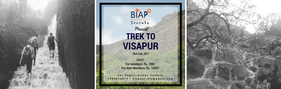 Book Online Tickets for BIAP Socials - Visapur Nature Trek, Malavli. Greetings from Board of Industry-Academia Partnerships! Leave the road, take the trails with BIAP! BIAP Socials invites you to a beautiful yet adventurous one day Trek at Visapur Fort (near Visapur village). It is a 3556 ft. high pinnacle located in
