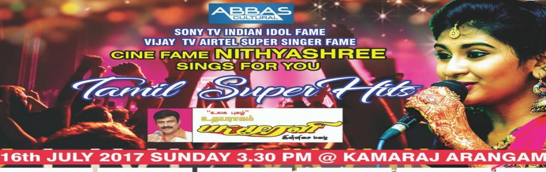 Book Online Tickets for Nithyashree kollywood and bollywood musi, Chennai.                    Mega musical concert ofVijay TV & Sony TV \'s Indian Idol junior fameMiss Nithya shree\'s