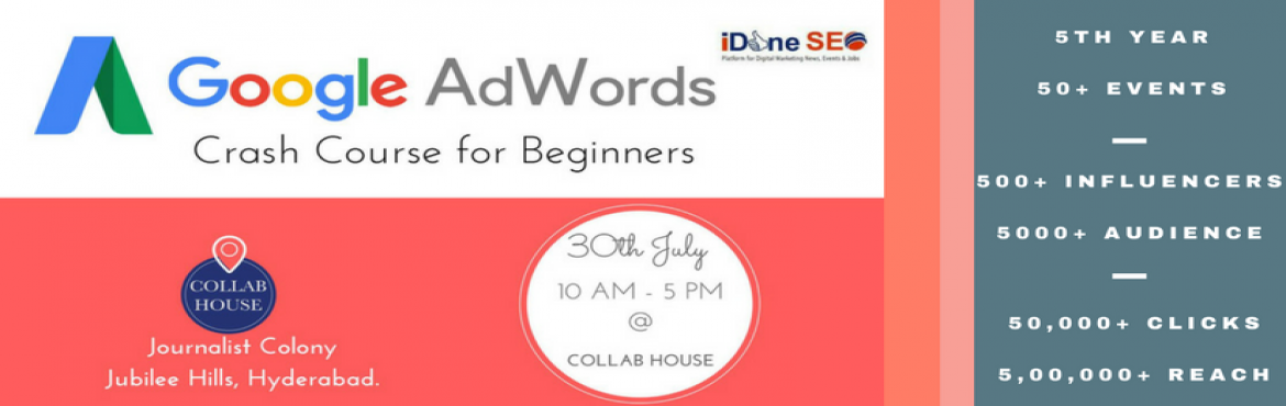 Book Online Tickets for Google Adwords Crash Course, Hyderabad. Learn one day crash course on Google Adwords by Domain Expert Amarnath Jan. He is a Google Adwords Certified Professional also Handled more than 200 digital marketing projects covering every segment in B2B and B2C space.   If you are just gettin