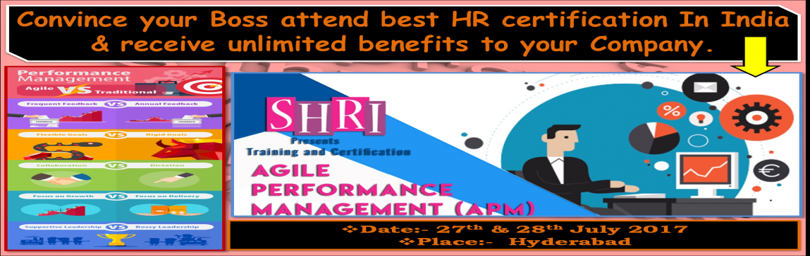 Book Online Tickets for Agile Performance Management from Strate, Hyderabad.       The Agile Performance Management certification course addresses the realities of today's business climate. The course helps participants understand how to shift the focus from annual evaluations and per