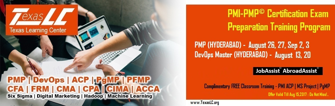 Book Online Tickets for PMI-PMP Certification EXAM Preparation T, Hyderabad. About The Event   Why PMI-PMP© Certification?  Better Pay: Increases your pay scale. Numerous studies have demonstrated and provide irrefutable evidence that PMP certified professionals earn about 20% higher pay than their no