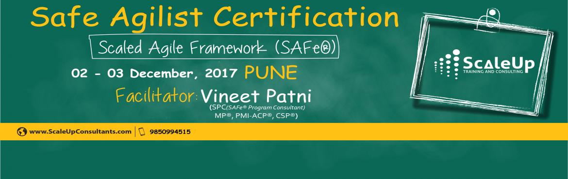 Book Online Tickets for SAFe Agilist Certification V4.5 Pune Dec, Pune. The SAFe® Agilist certification is especially designed for agile leaders, project, program and portfolio managers who work in a scaled agile set-up. The SAFe Agilist certification program is for executives, managers and Agile change agents respon