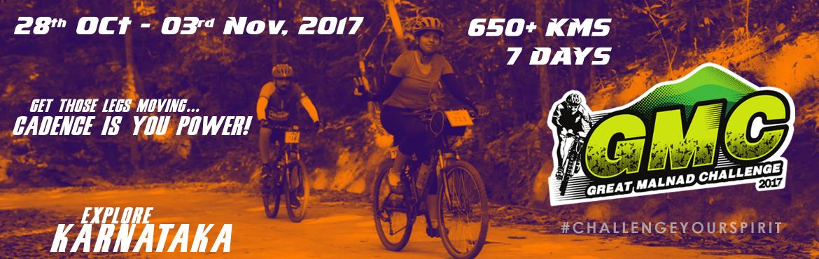 Book Online Tickets for GREAT MALNAD CHALLENGE 2017, Hassan.  Welcome to GMC2017. The Great Malnad Challenge is an annual MTB ride that passes through some of the best trails in the Western Ghats region of Karnataka. This year's event is the 8th edition of the challenge.   The Great Malnad Chal