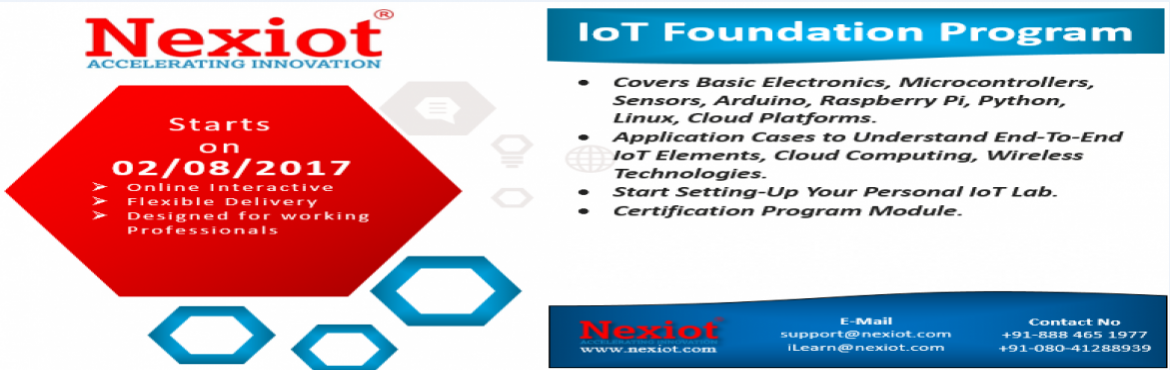 Book Online Tickets for Internet of Things Foundation Program by, Bengaluru.