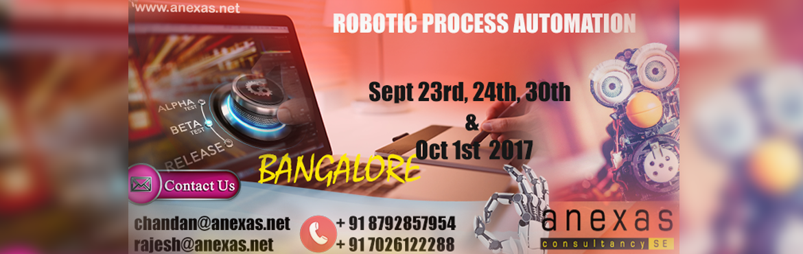 "Book Online Tickets for RPA Training on Automation Anywhere at B, Bengaluru. Robotic process automation (RPA) is the application of technology that allows employees in a company to configure computer software or a ""robot"" to capture and interpret existing applications for processing a transaction, manipulating dat"