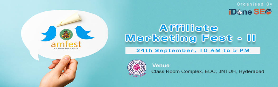 Book Online Tickets for Affiliate Marketing Fest - II, Hyderabad. Welcome to the Affiliate Marketing Fest - II at Hyderabad on Sep,24th,2017. Affiliate Marketing Fest Goal Is To Educate & Aware Youth On Self Employment Career Opportunities and Discuss on Industry Updates. Walk in at 9 :30 AM for a meet-and-gree