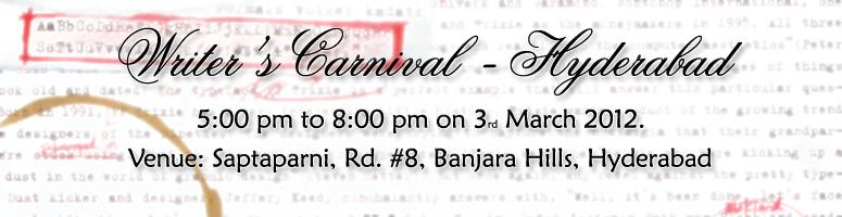 Book Online Tickets for Writer\'s Carnival [Hyderabad], Hyderabad. To celebrate the power of the written word, Writer\\\'s Carnival is being  hosted by Nivasini Publishers, an emerging publishing house in  Hyderabad.  Author, Anirudh Annam of Children of War  fame  Anuradha Goyal, Travel Writer and Blogger and   Pub