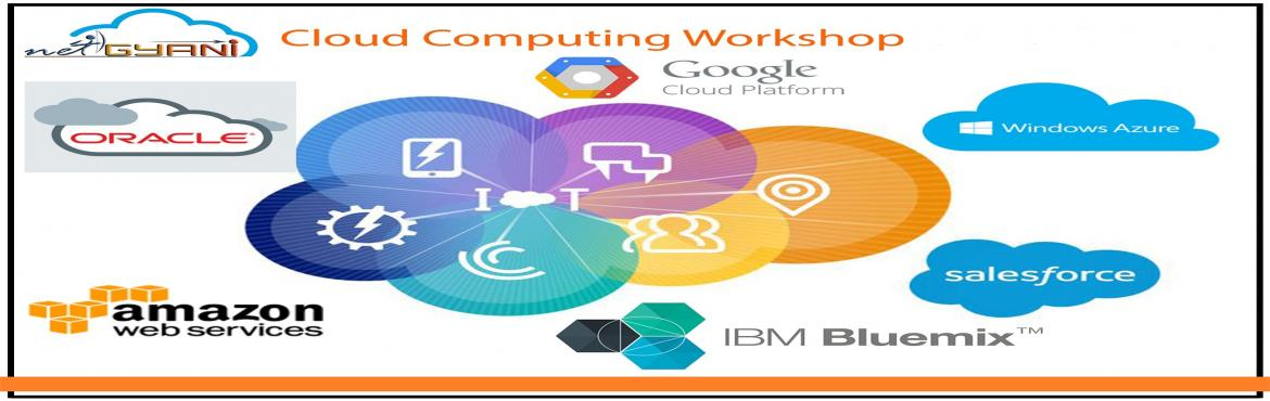 Book Online Tickets for 2 Days Workshop on Cloud Computing - Zer, Pune. Next Generation is on Cloud Today\'s IT industry is shifting gears to new Cloud, Social, Mobile and Anaytics Platforms. Net Gyani is hosting this workshop for freshers and experienced professionals in Java,.Net,Software Testing,PHP,