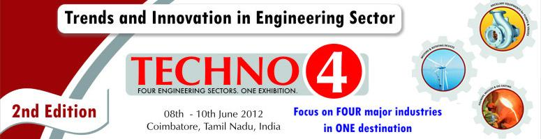 Book Online Tickets for Techno4 India 2012, Coimbatore. We are pleased to inform you that The Southern India Engineering Manufacturers\\\' Association(SIEMA) along with ORBITZ is organizing Techno-4 , 2012. at Coimbatore . We wish to bring to your notice that,  Rs. 5000 Corers of Engineering Manufactur
