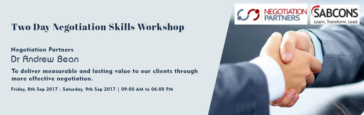 Book Online Tickets for Two Day Negotiation Skills Workshop , Bengaluru. Introduction: Dr Andrew Bean from Negotiation Partners provides negotiation skills programs in Australia, New Zealand and further afield. This training program is unique as it combines intensive role-plays and coaching by a professional neg