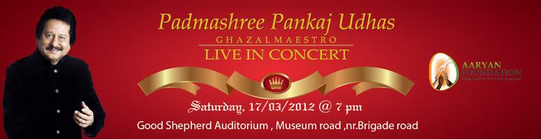 Book Online Tickets for Padmashree Pankaj Udhas Live-in-Concert , Bengaluru. Padmashree Pankaj Udhas Live-in-Concert: Padmasree Pt. Pankaj Udhas, a well known Ghazal and Playback Singer needs no introduction.With over 40 albums to his credit, he is known for his unique singing style. Mellifluous verses of Urdu poets are set
