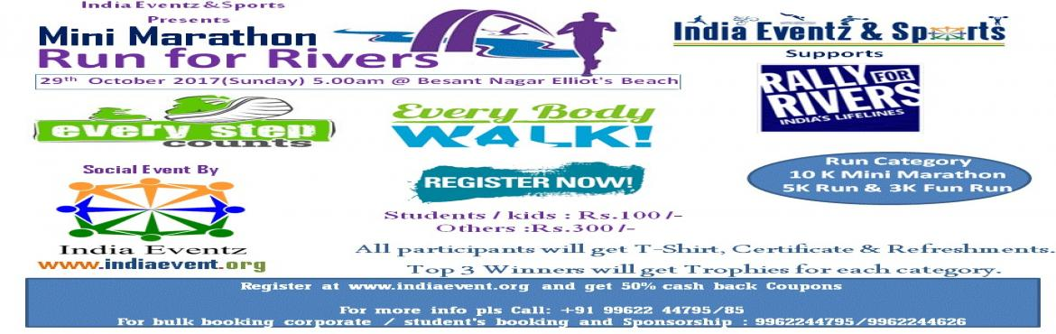 Book Online Tickets for Run for Rivers 2017 ( Rally for Rivers), Chennai.     Save River ! Save Nature!! RUN FOR THE RIVER ! RUN FOR CAUSE !!! Please join us for the Run for a Cause ! A community coming together for fitness and a great cause!! This years race will be dedicated to our rivers. India's rivers