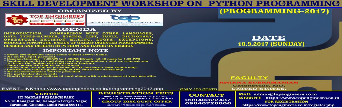 SKILL DEVELOPMENT WORKSHOP ON PYTHON PROGRAMMING(PROGRAMMING-2017)