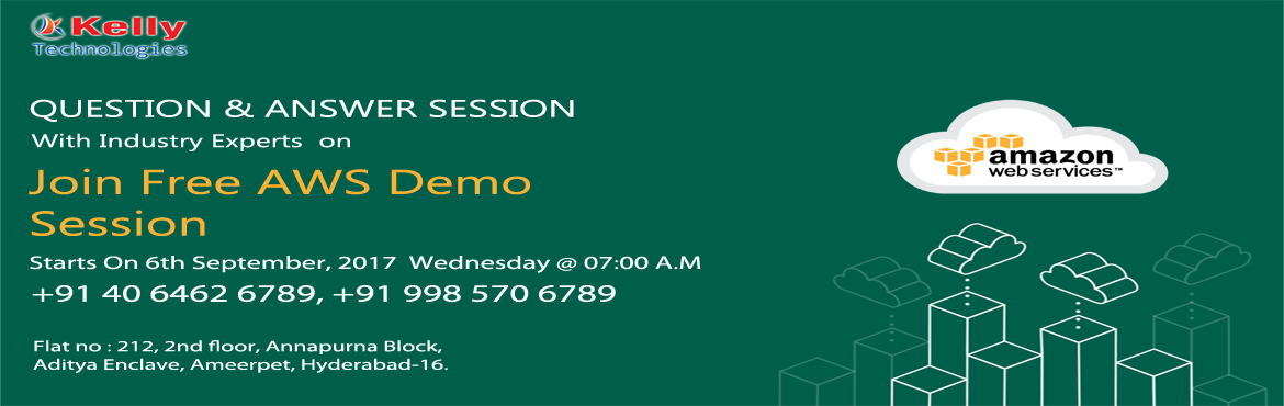 Free AWS Demo on 6th September 2017 (Wednesday) at Kelly Technologies @ 7:00 AM.