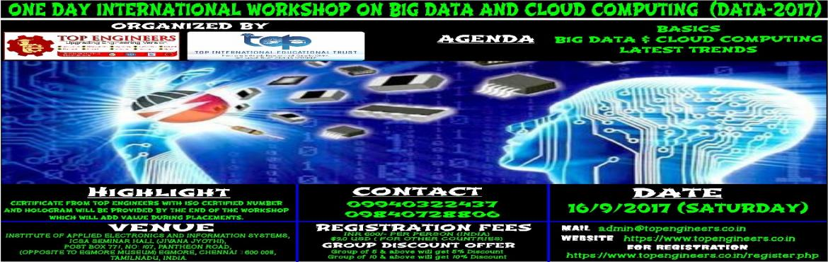 ONE DAY INTERNATIONAL WORKSHOP ON BIG DATA AND CLOUD COMPUTING  (DATA-2017)
