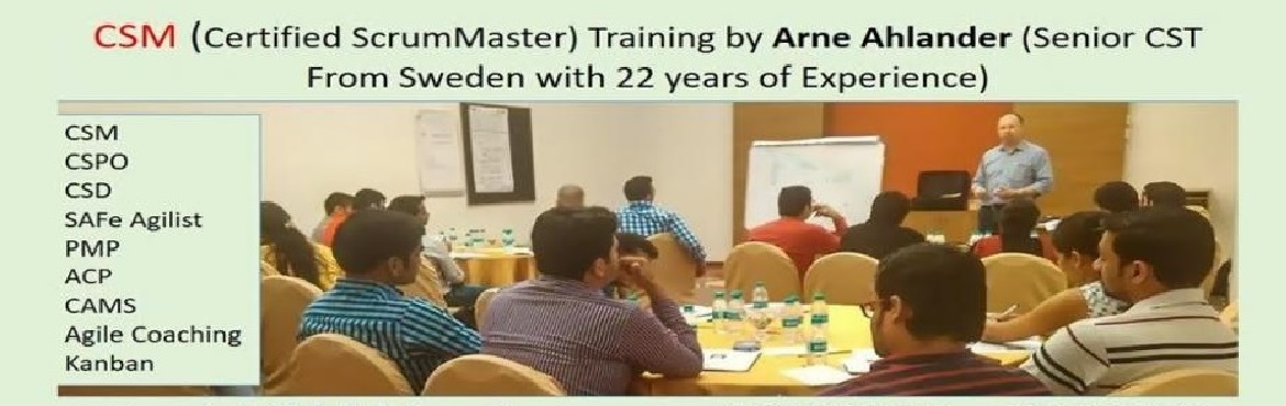 Book Online Tickets for Certified Scrum Master Training by Arne , Gurugram.  OVERVIEW  Scrum is a framework for developing and sustaining complex products. This definition consists of Scrum's roles, events, artifacts and the rules that bind them together. Ken Schwaber and Jeff Sutherland d