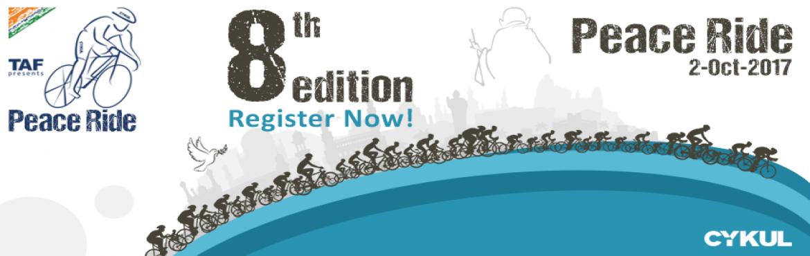 Book Online Tickets for The Peace Ride 2017 - 8th Edition, Hyderabad.   It is health that is real wealth, and not pieces of gold & silver. - Mahatma Gandhi CYKUL invites you to be a part of India\'s oldest, best and longest reigning cycling event - The Peace Ride.  CYKUL creates active communities by maki