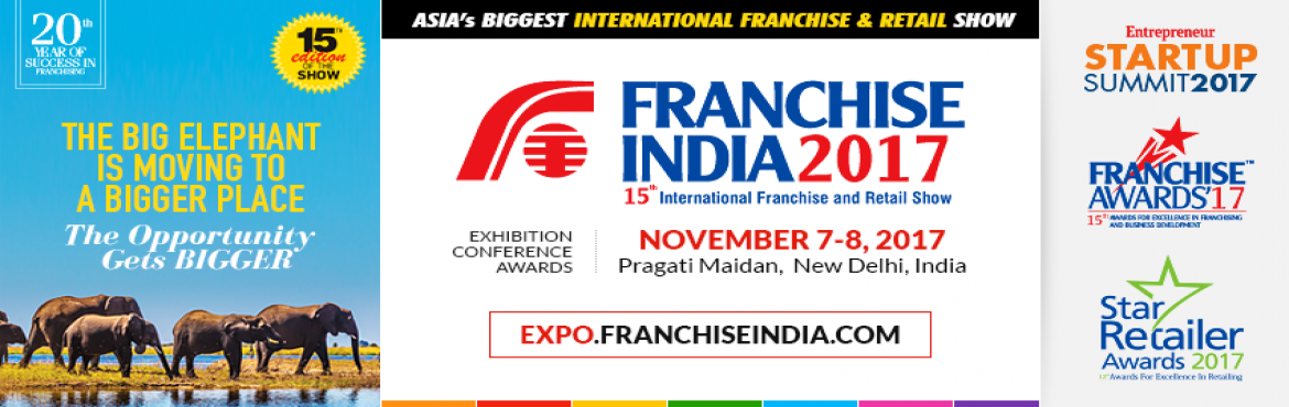 Book Online Tickets for Franchise Retail and SME Show 2017, New Delhi.  Franchise India 2017 - The 15th International provides the best possible panel for sharing ideas, practices and business opportunities. Franchise India has endeavored to trace the best practices that help organizations to grow efficiently and p