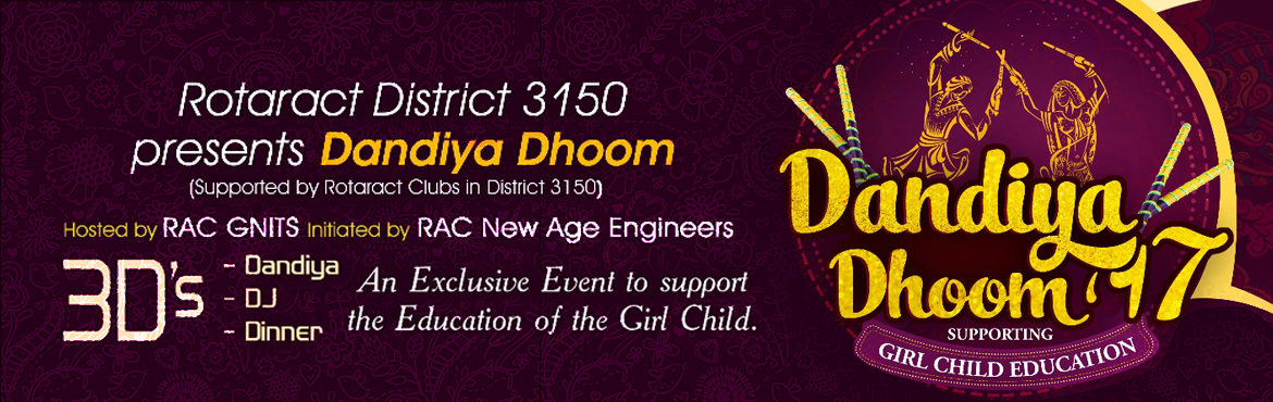 Book Online Tickets for Dandiya Dhoom 17, Hyderabad. DandiyaDhoom is presented by Rotaract District 3150, Initiated by Rotaract Club of New Age Engineers, hosted by RAC GNITS and supported by Rotaract Clubs of 3150. Rotaractors turn to support the cause being a part of the Literacy Mission. Rotar