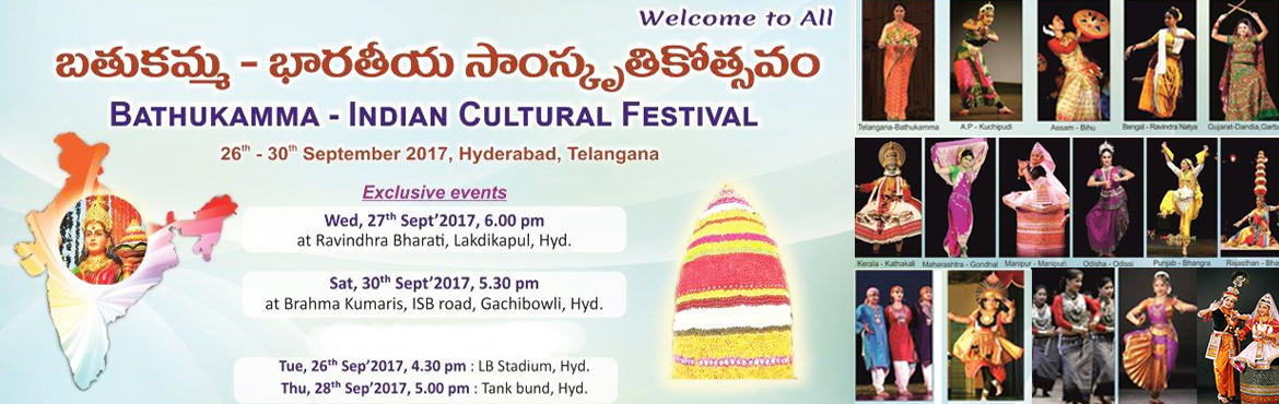 Book Online Tickets for Grand Bathukamma Celebrations at Shanti , Hyderabad. Grand Bathukamma Celebrations in the form of Indian Cultural Festival   By Brahma Kumaris in association with Govt. of Telangana   On the occasion of Batukamma Festival, Brahma Kumaris in association with Department of Language and Cul