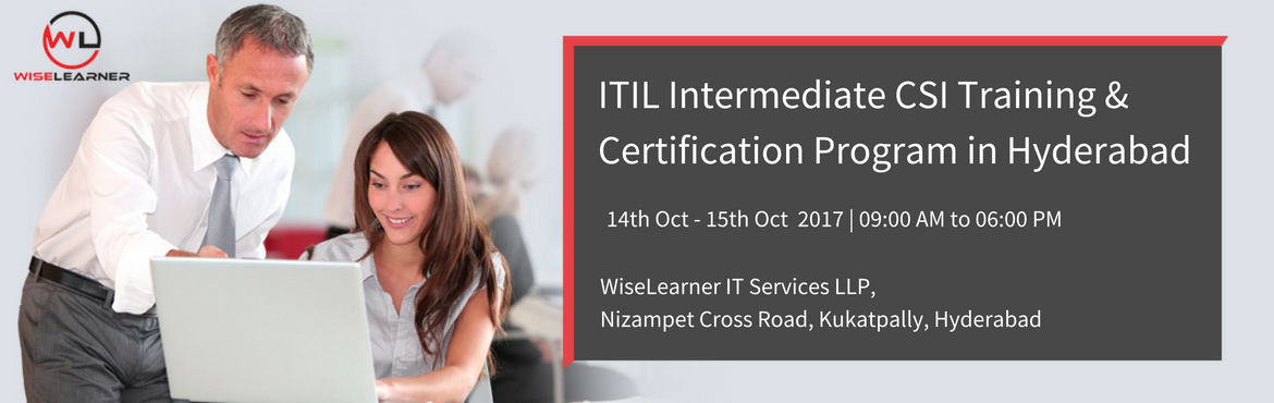 "Book Online Tickets for ITIL Intermediate CSI Training and Certi, Hyderabad. OVERVIEW Continual Service improvement looks for ways to improve process effectiveness and efficiency as well as cost effectiveness.  The purpose of CSI is ""to align IT services with changing business needs by identifying and implementing"