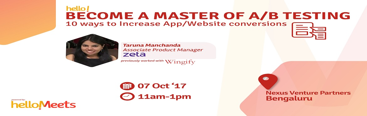 Book Online Tickets for Product Analytics Meetup-Bengaluru, Bengaluru.   About the Speaker:  Taruna Manchanda, Associate Product Manager at Zeta         Previously worked with Wingify   Taruna kick-started the second revenue stream for Wingify by gr