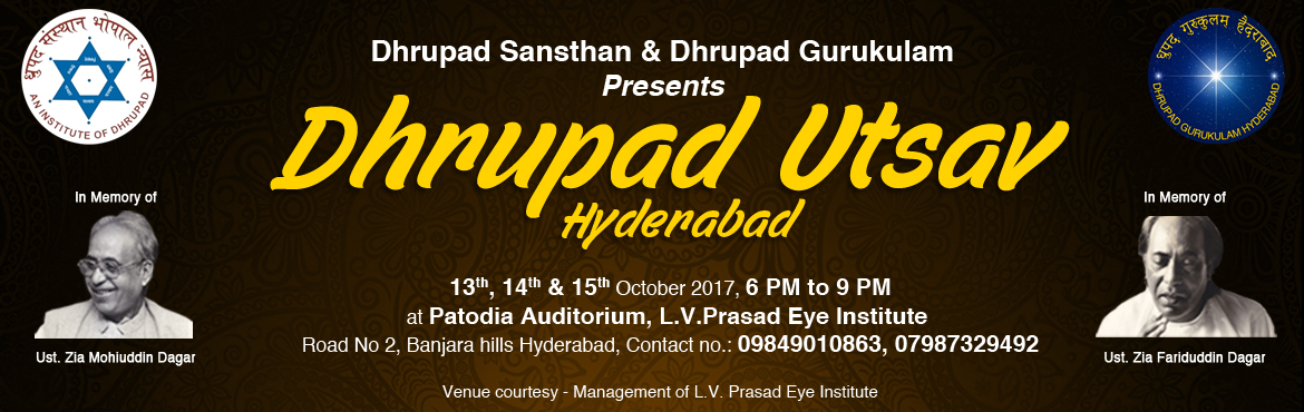 Book Online Tickets for Dhrupad Utsav, Hyderabad. Synopsis While Dhrupad, which has undergone a revival period over the past century, is now an integral part of all major Indian Music festivals, the senior established performers find performance assignments frequently. However, many young upcoming D