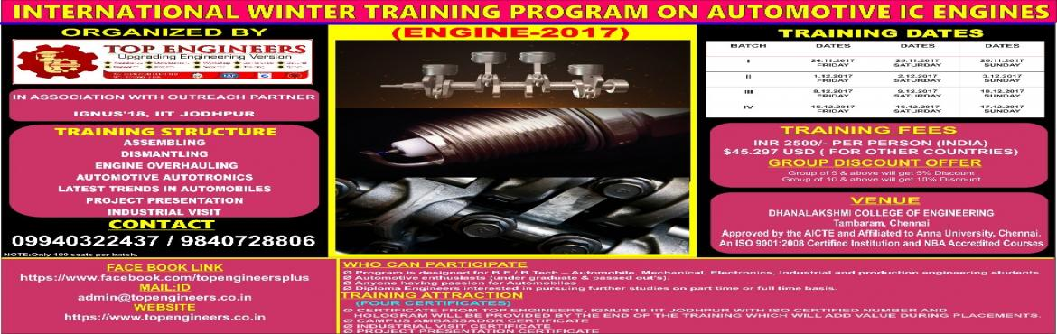 INTERNATIONAL WINTER TRAINING PROGRAM ON AUTOMOTIVE IC ENGINES  (ENGINE-2017) - Pushpagiri | MeraEvents com