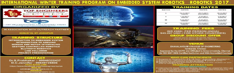 Book Online Tickets for INTERNATIONAL WINTER TRAINING PROGRAM ON, Pushpagiri. INTERNATIONAL WINTER TRAINING PROGRAM ON EMBEDDED SYSTEM ROBOTICS (ROBOTICS -2017) INDIA'S LEADING WINTER PROGRAM Organized byTOP ENGINEERS[India's leading educational service conducting firm] IN ASSOCIATION