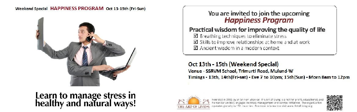 Book Online Tickets for Weekend Special HAPPINESS PROGRAM, Mumbai.
