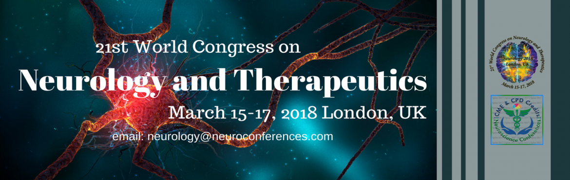 "Book Online Tickets for 21st World Congress on Neurology and The, London. The 21st World Congress on Neurology and Therapeutics is to be held during March 15-17, 2018 in London, UK. Neurology Conference will be organized around the theme ""Exploring the Recent Innovations and Novel Therapies in Neurology and Neur"