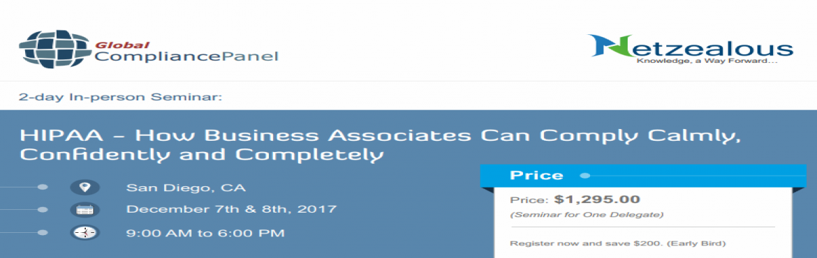 Book Online Tickets for   HIPAA How Business Associates Can Comp, San Diego.   Overview:   HIPAA Rules are easy to follow, step-by-step, once you know the steps. In this seminar Paul Hales will capture your attention with visual presentations, exercises and discussion that explain HIPAA compliance in plain l
