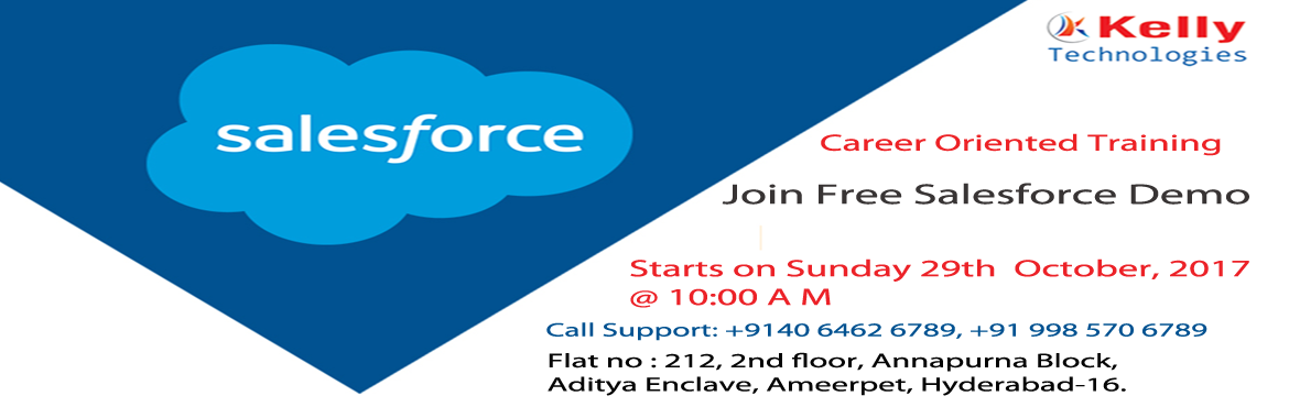Book Online Tickets for Take the Part in Free Demo on Salesforce, Hyderabad.   Salesforce Technology helps to manage the best customer relationships, integration with other systems and to build own applications. Salesforce Training in Hyderabad at Kelly Technologies helps the audience to enable skills in every modul