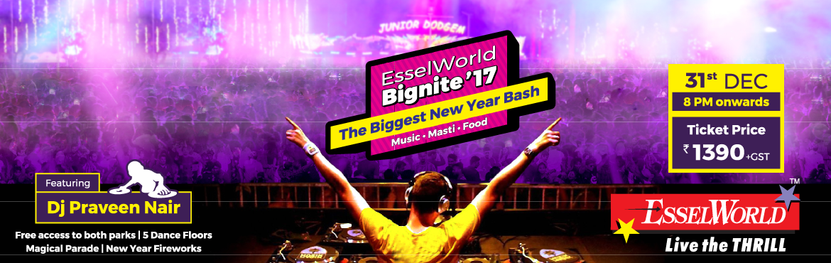 Book Online Tickets for EsselWorld Bignite2017, Mumbai. Every year EsselWorld organizes a mega party event on the night of 31st December to celebrate and bring-in the new year. This event is recalled by our guest as EsselWorld Bignite and is been registered in the minds of the party goers. EsselWorld is o