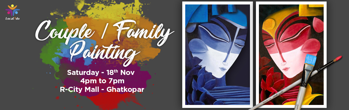 Book Online Tickets for Couple / family painting party, Mumbai. Creative way to spend quality time together and experience the joy of painting together. One person paints a canvas which is the left side of a painting and the other person paints another canvas that is the right side. Put them up together to get th