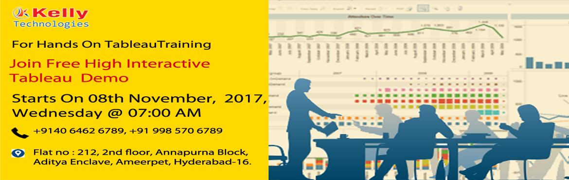 Free Tableau Demo Conducted By Industry Experts At The Kelly Technologies On 8th Of November @ 7 AM.