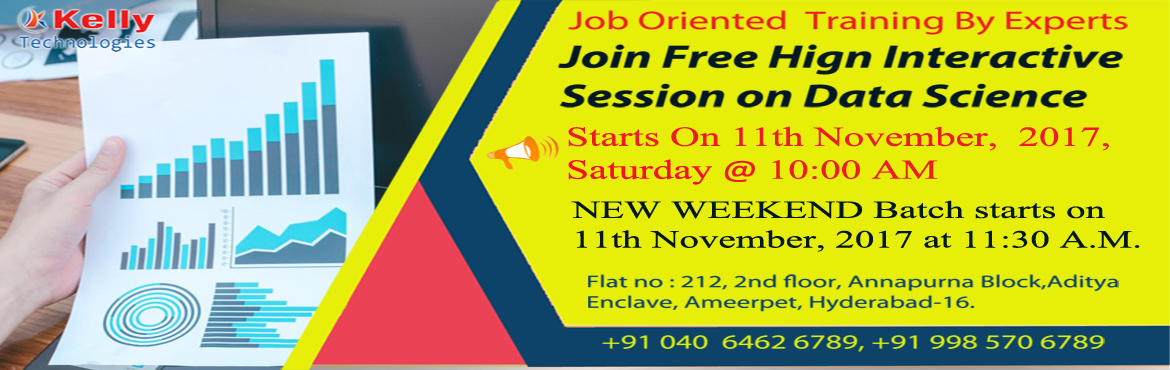 Book Online Tickets for Data Science Free Demo as there are limi, Hyderabad. Grab Wonderful Opportunity by Entering into Today's Top Career That Is Data Science Data Science is everywhere and it is the explosive growth in a digital world where it requires not only strong skills but also adaptability and passion for stay