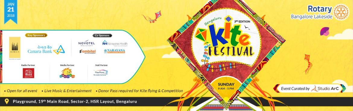 Book Online Tickets for Bengaluru Kite Festival - 2018, Bengaluru. Bengaluru Kite Festival 2018 is a family event full of fun, food, live music, Special Kite Show and joy of kite flying! After the success of last year, this event will be bigger and better. This event is evening organised by Rotary Bangalore Lak