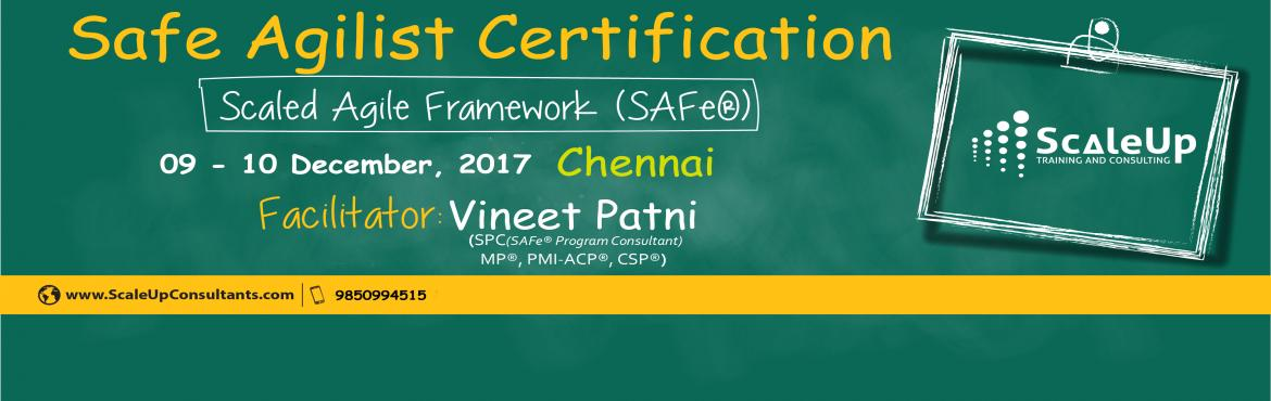 Book Online Tickets for SAFe Agilist Certification Chennai Decem, Chennai. The SAFe® Agilist certification is especially designed for agile leaders, project, program and portfolio managers who work in a scaled agile set-up. The SAFe Agilist certification program is for executives, managers and Agile change agents respon