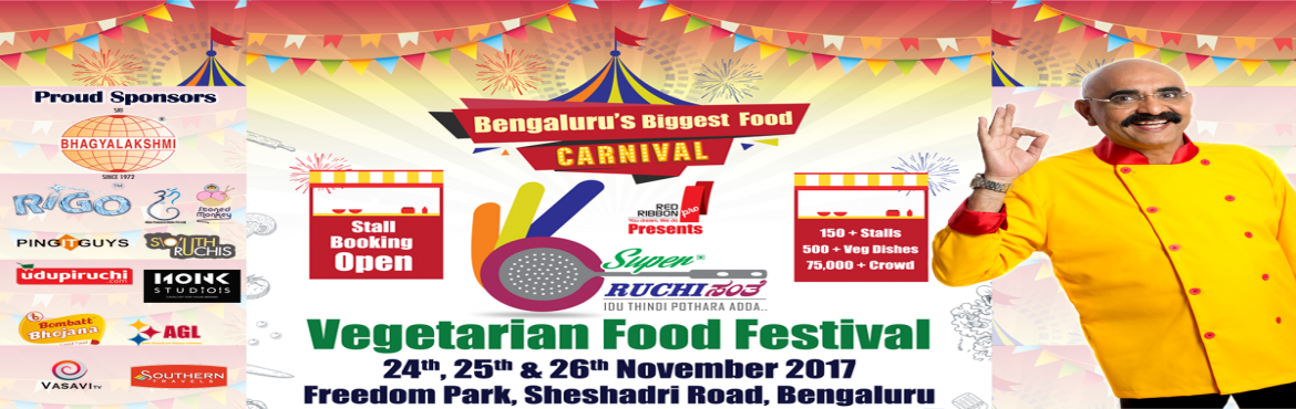 Book Online Tickets for Ruchi Santhe 2017, Bengaluru.           Ruchi Santhe 2017 food festival which is rapidly approaching. It will be held on 24th, 25th & 26th of Nov 2017 from 9am to 10pm at a carpet area of 16,000 sq. ft. Packed with authentic Veg Food, Compet