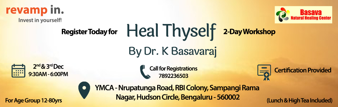 Book Online Tickets for Heal Thyself, Bengaluru. Spirituality is increasingly being used as a Self Healing process from over many centuries. You can heal yourself through various means of spiritually motivated self healing techniques. These techniques enable one to stay fit as a fiddle and thus lea