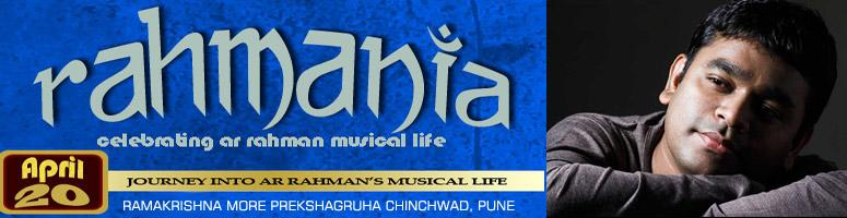 Book Online Tickets for RAHMANIA Live Concert - Pune, Pune. A JOURNEY THROUGH THE LIFE, PHILOSOPHY AND MUSIC OF A.R.RAHMAN……!'Rahmania' is a show performed by Pune's well reputed musical band 'The Wandering Souls'. Conceptualized (by Anmol Bhave) in the year 2006 (a