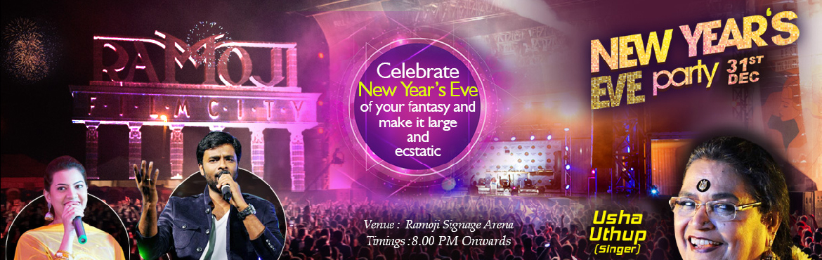 Book Online Tickets for New Year Party 2018 with Usha Uthup at R, Hyderabad. As part of the New Year bash, Guests can have an inimitable grand style with foot tapping music and ecstatic cheer, as they would have the celebrity singer Usha Uthup to set the stage on fire. Ramoji Signage Arena as the venue for the special celebra