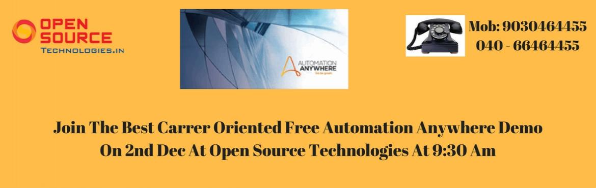 Book Online Tickets for Enter Into The World Of Robotics By Enro, Hyderabad. Enter Into The World Of Robotics By Enrolling For Automation Anywhere RPA Tool Demo On 2nd Dec At Open Source Technologies @ 9: 30 AM. Automation Anywhere is the most used and vital tool in Robotics field that is with a lower cost of development. It